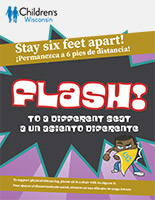 Flash Physical Distancing sign