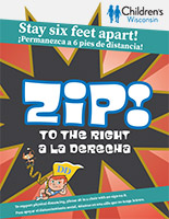 Zip Physical Distancing sign